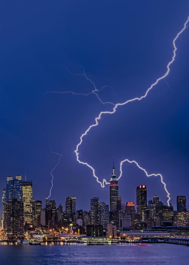 Lightning Photograph - Lightning Bolts Over New York City by Susan Candelario