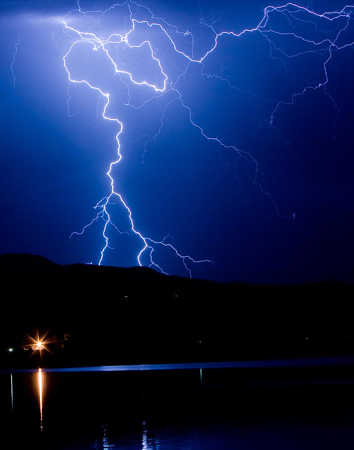 Lightning Fork In The Hills Photograph