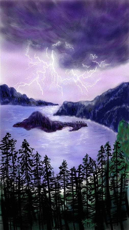 Digital Digital Art - Lightning In Purple Clouds by Brenda Tamano
