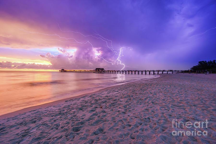 Lightning Naples Pier by Hans- Juergen Leschmann