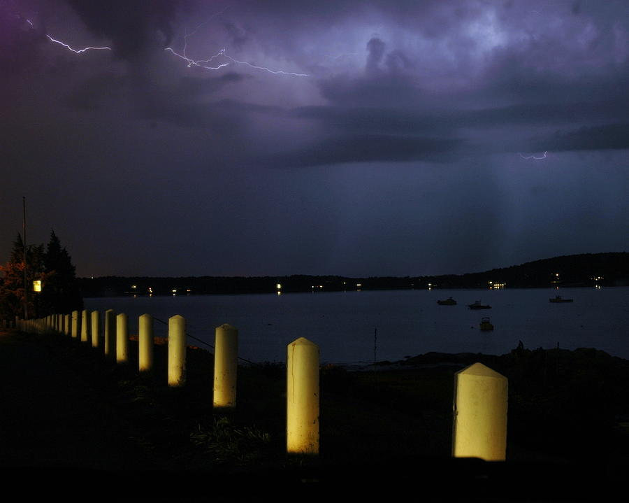 Storm Photograph - Lightning On The Bay by Megen McAuliffe