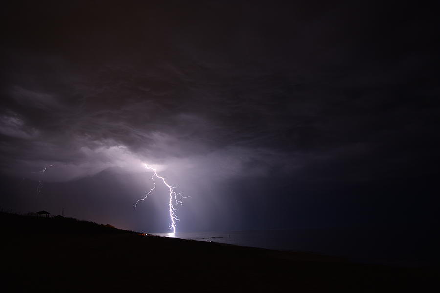 Weather Photograph - Lightning On The Beach #1 by Connor Sipe