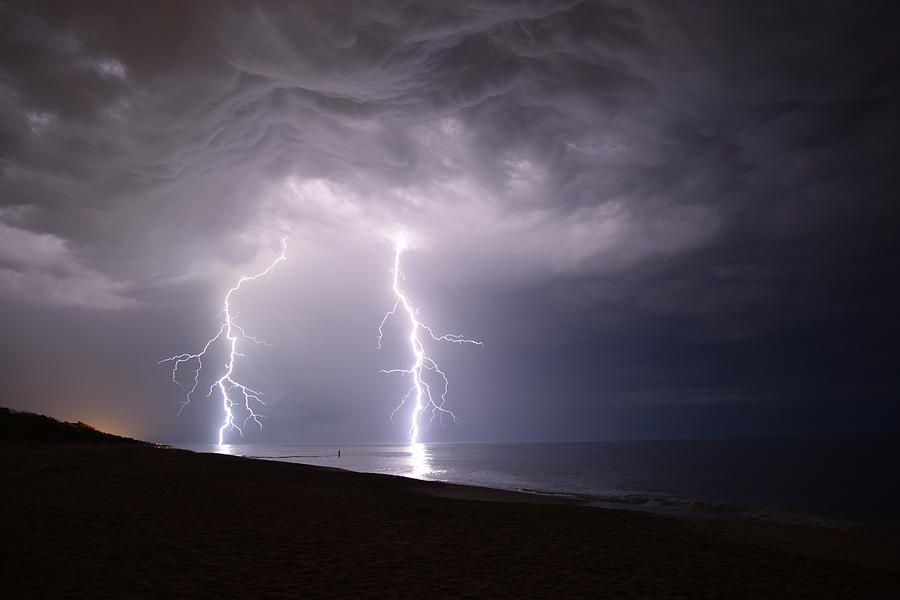 Weather Photograph - Lightning On The Beach #2 by Connor Sipe