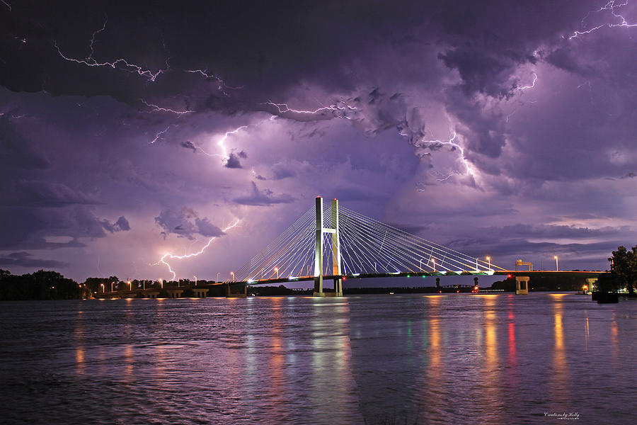 Mississippi River Photograph - Lightning over Great River Bridge by Holly Carpenter