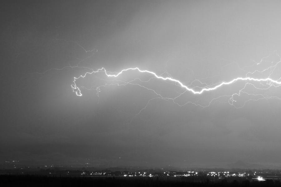 Lightning Photograph - Lightning Over North Boulder Colorado  Ibm Bw by James BO  Insogna