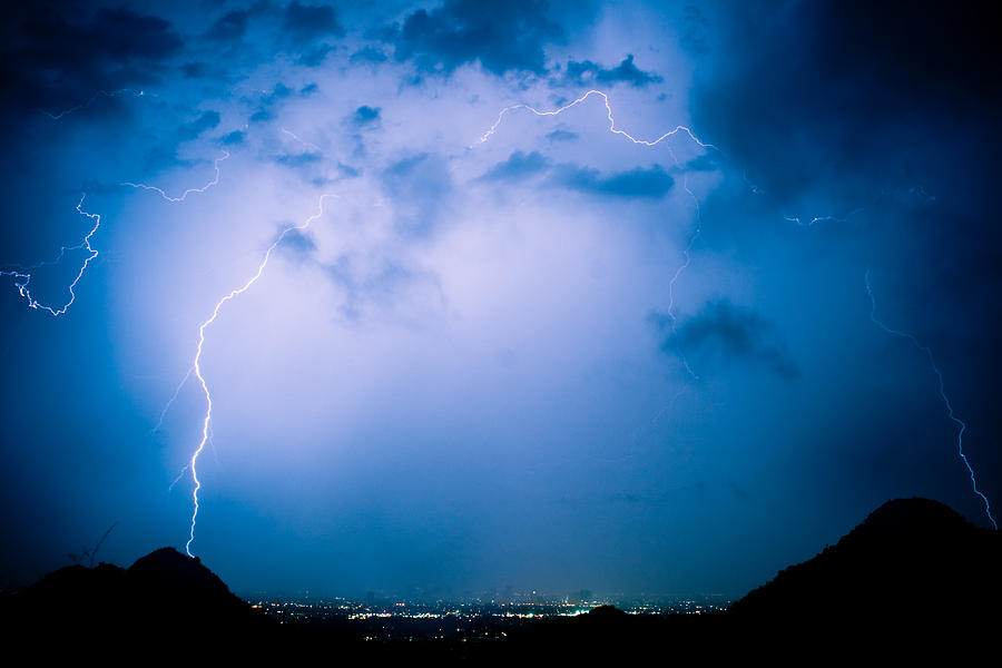 Lightning Photograph - Lightning Rainbow Blues by James BO Insogna