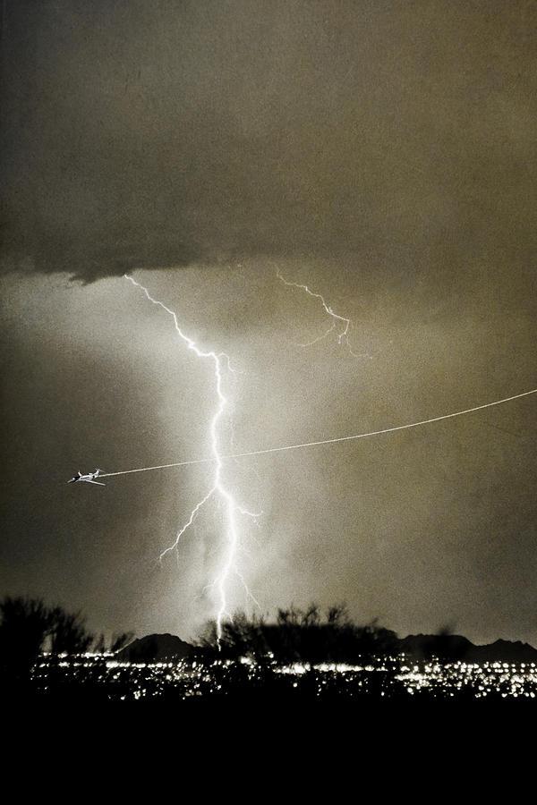 Lightning Photograph - Lightning Storm City Lights Jet Airplane Fine Art Photography by James BO  Insogna