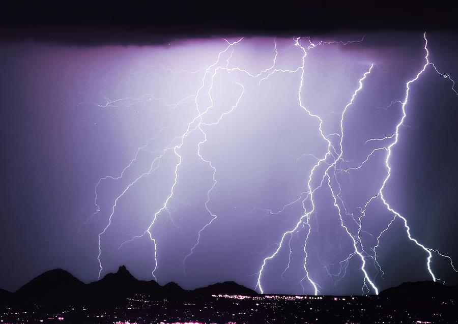 Lightning Photograph - Lightning Storm North Scottsdale Az 85255 by James BO  Insogna
