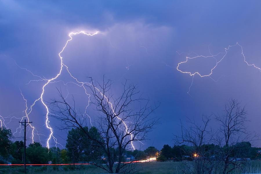 Lightning Photograph - Lightning Storm On 17th Street Fine Art Print by James BO  Insogna