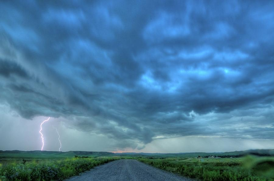 Montana Photograph - Lightning Strike by Dave Rennie