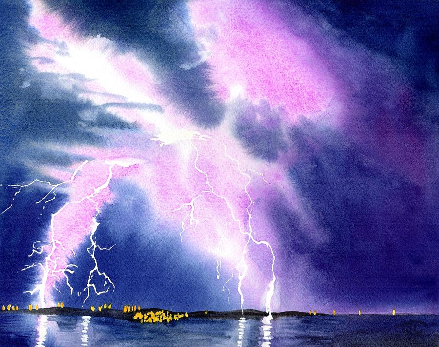 Lightning Painting - Lightning Strike by Tammy Crawford