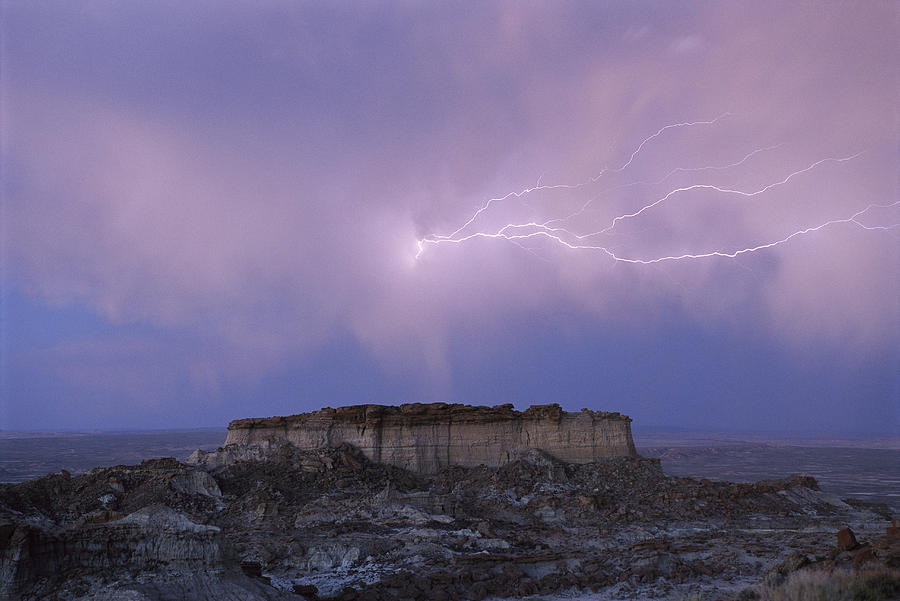 Rock Formations Photograph - Lightning Strikes Above A Butte by Joel Sartore