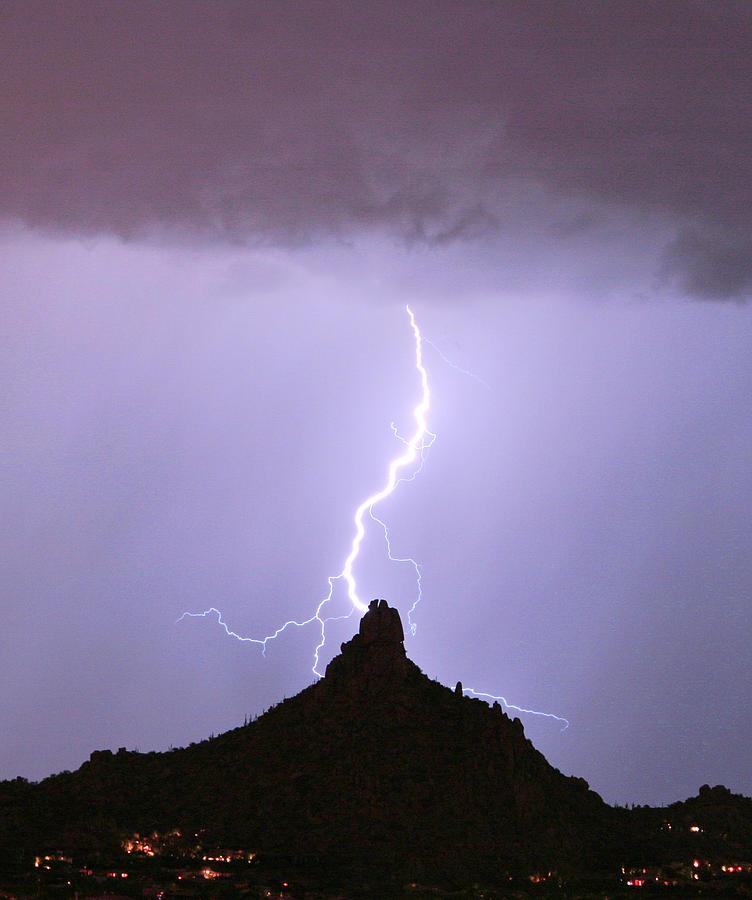 Pinnacle Peak Photograph - Lightning Striking Pinnacle Peak Scottsdale Az by James BO  Insogna