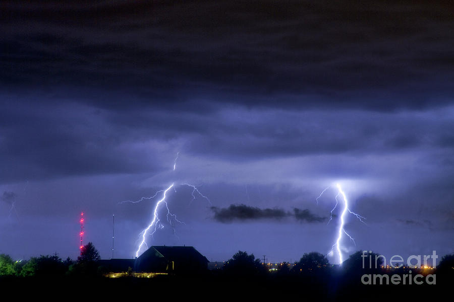 Boulder Photograph - Lightning Thunderstorm July 12 2011 Two Strikes Over The City by James BO  Insogna