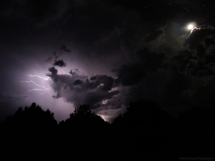 Night Photography Photograph - Lightning With Stars And Moon  by Todd Krasovetz