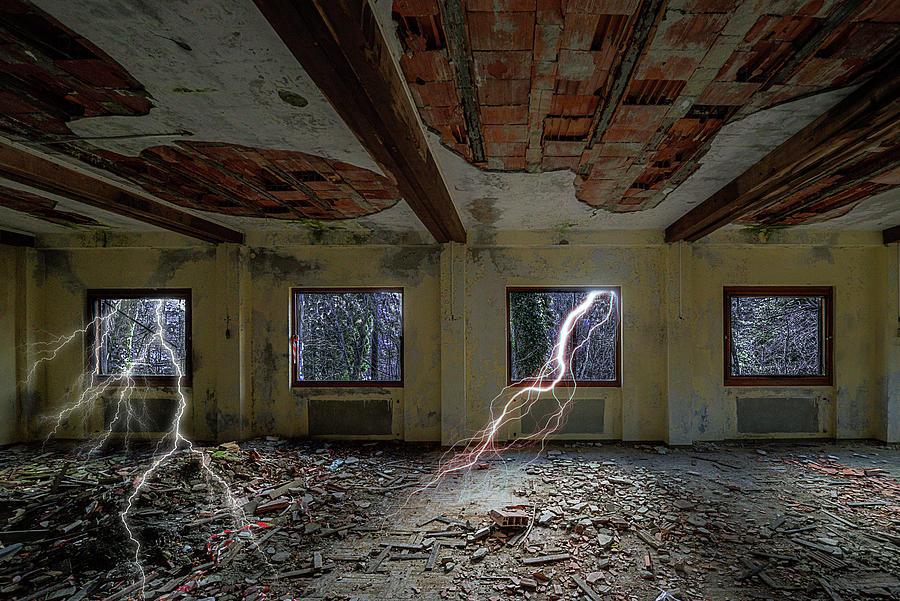 Abandoned Hotel Photograph - Lightnings On The Abandoned Hotel Of Liguria Mountains - Fulmini Su Hotel Abbandonato Sullav by Enrico Pelos