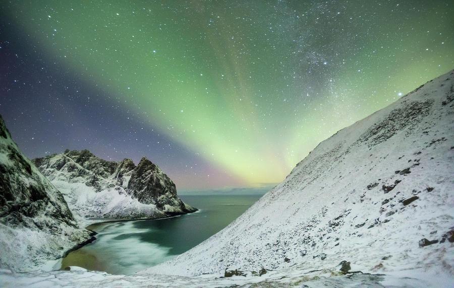 Northern Lights Photograph - Lights Above Kvalvika by Alex Conu