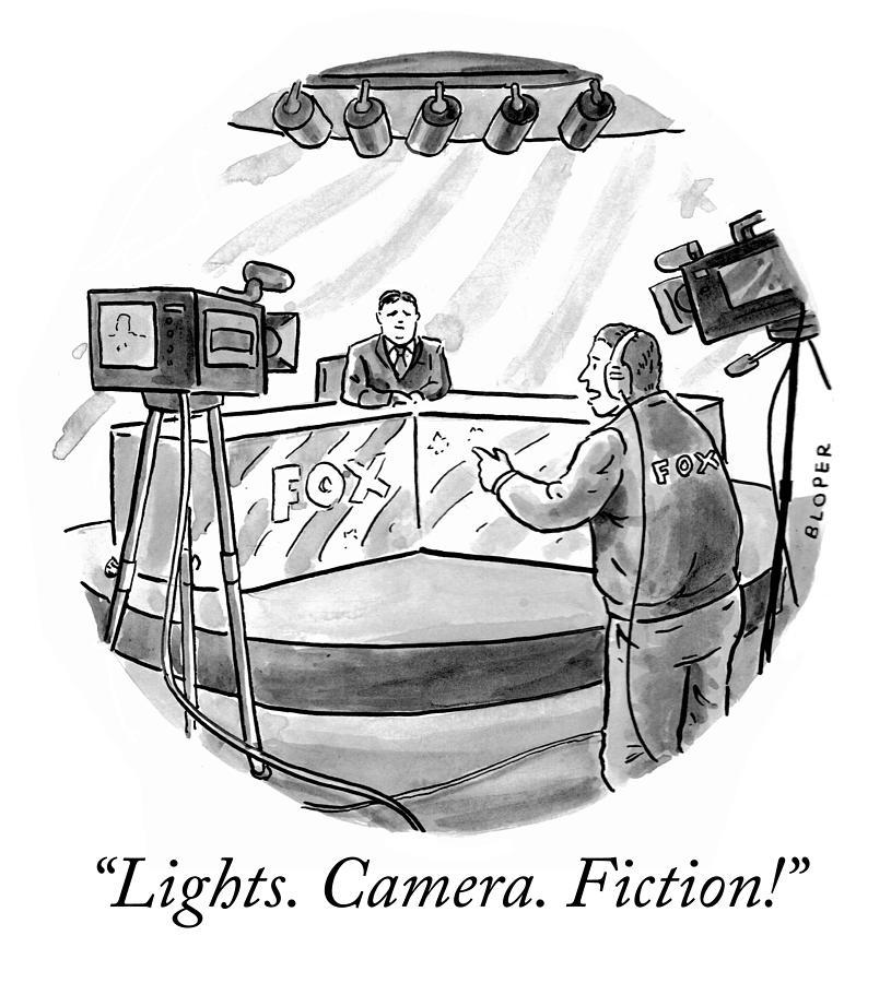 Lights Camera Fiction Drawing by Brendan Loper