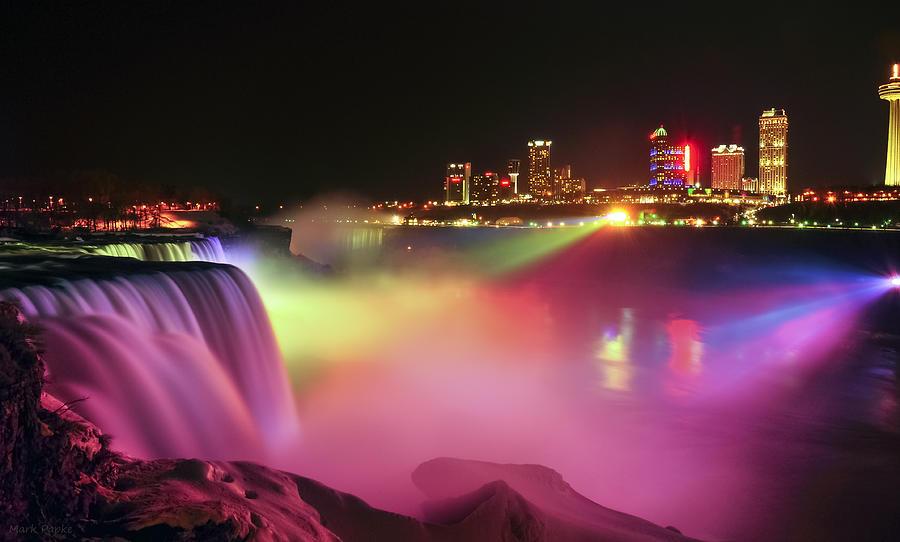 Niagara Falls Photograph - Lightshow by Mark Papke