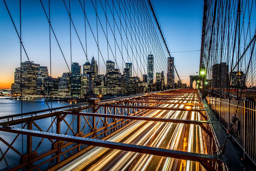 Brooklyn Bridge Photograph - Lightwave by Johnny Lam