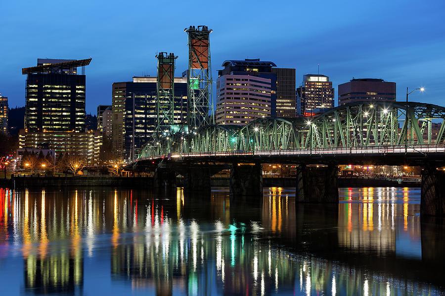 Portland Photograph - Ligth Trails On Hawthorne Bridge At Blue Hour by David Gn