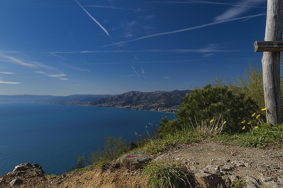 Portofino Photograph - Liguria Paradise Gulf Panorama With Yellow Flowers by Enrico Pelos