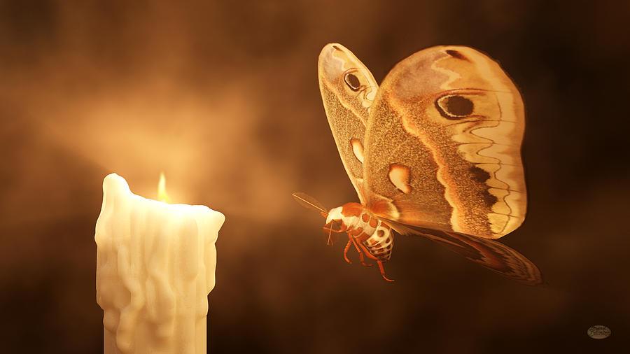 Moth Digital Art - Like A Moth To A Flame by Daniel Eskridge