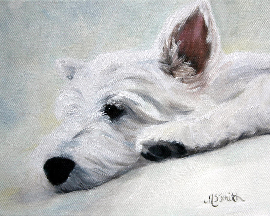 Westie Painting - Like An Angel by Mary Sparrow