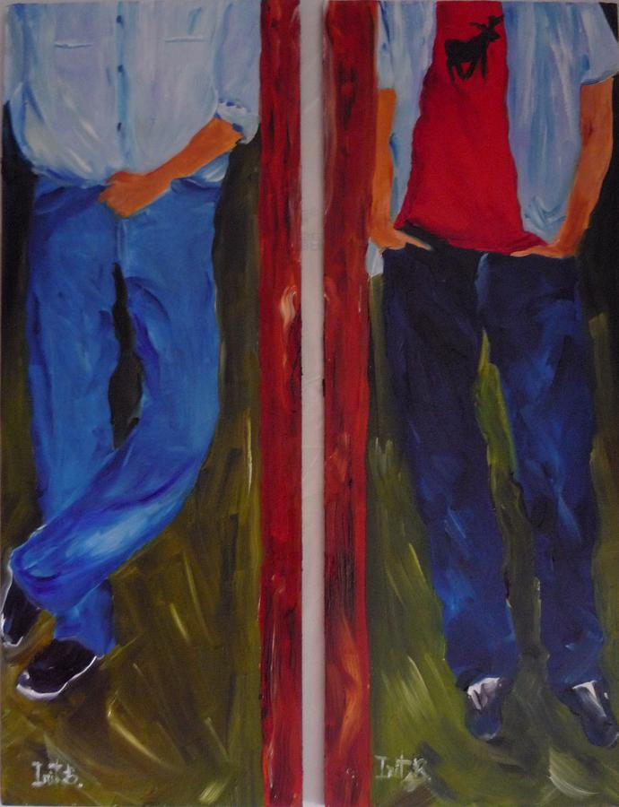 Figurative Painting - Like Father Like Son by Irit Bourla