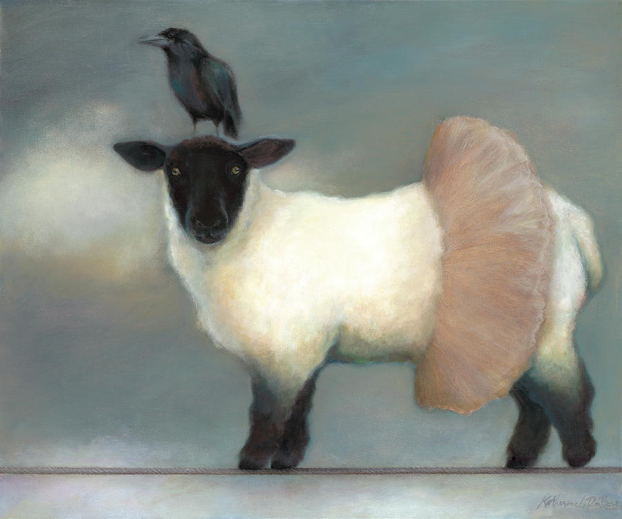 Raven Painting - ...like Lambs.. by Katherine DuBose Fuerst