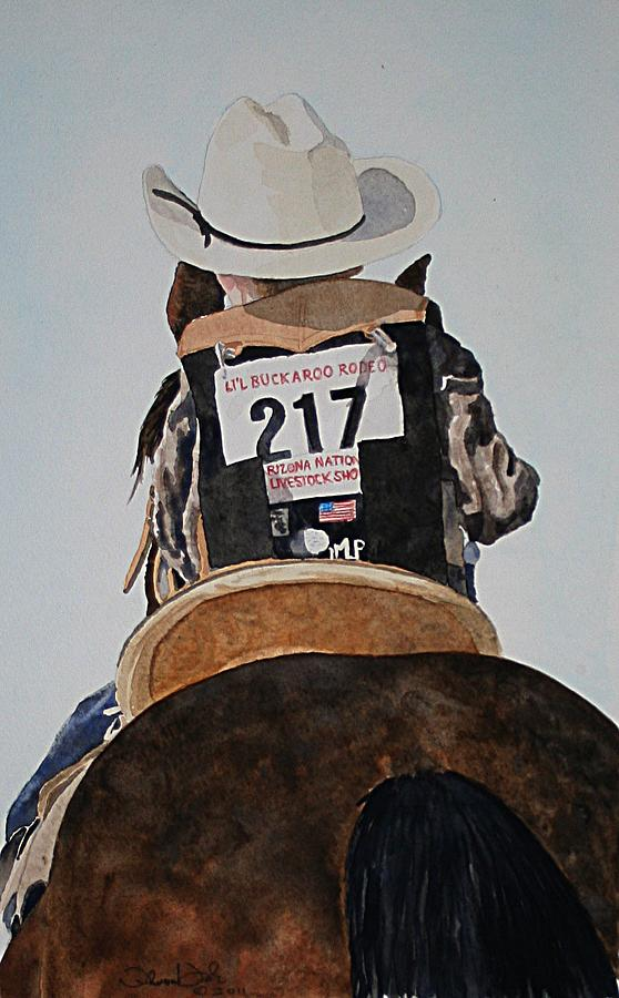 Cowboy Painting - Lil Buckaroo by Theresa Higby