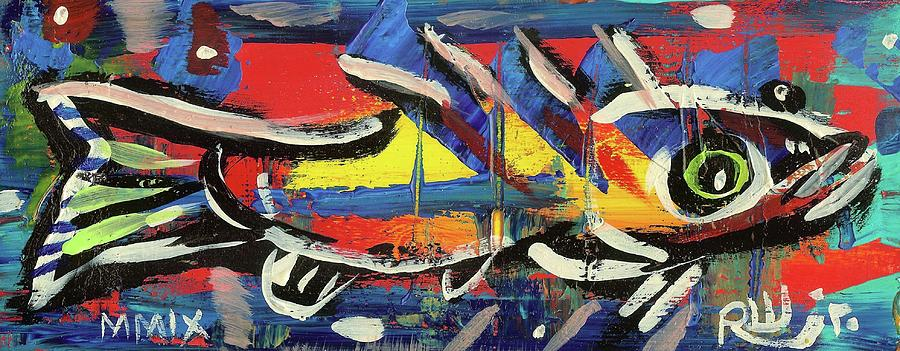 Contemporary Painting - Lil Funky Folk Fish Number Nine by Robert Wolverton Jr
