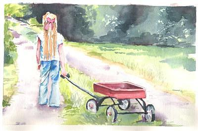 Lil Girl And Wagon Painting by Mark Keisling