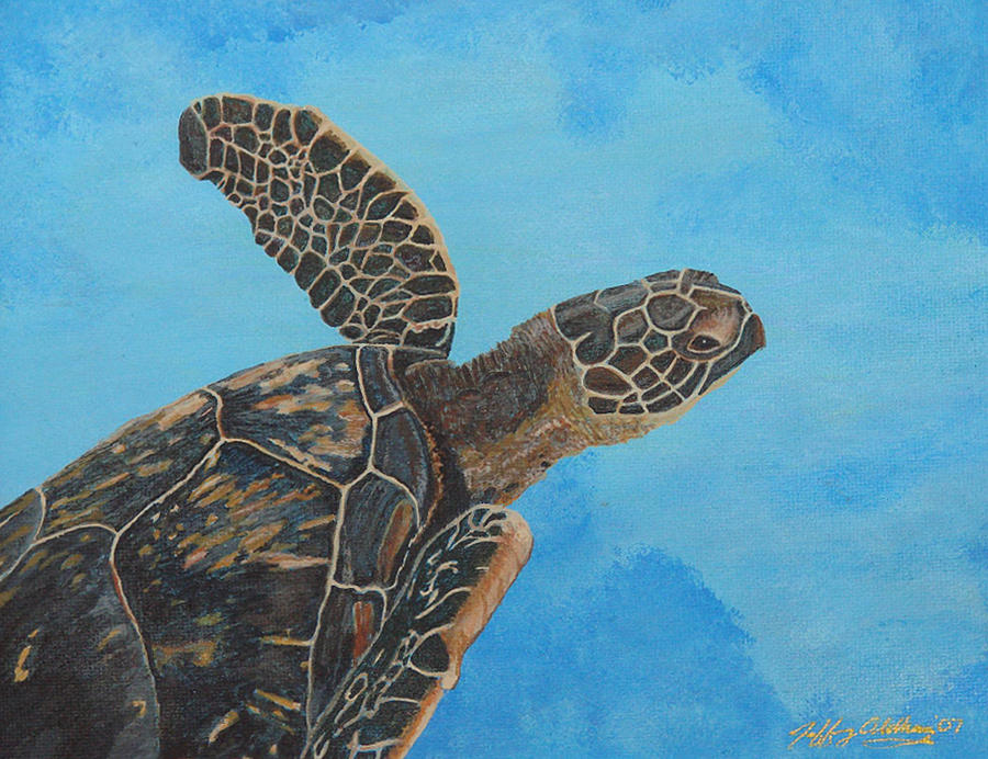 Hawaiian Sea Turtle Painting - Lil Honu by Jeffrey Oldham