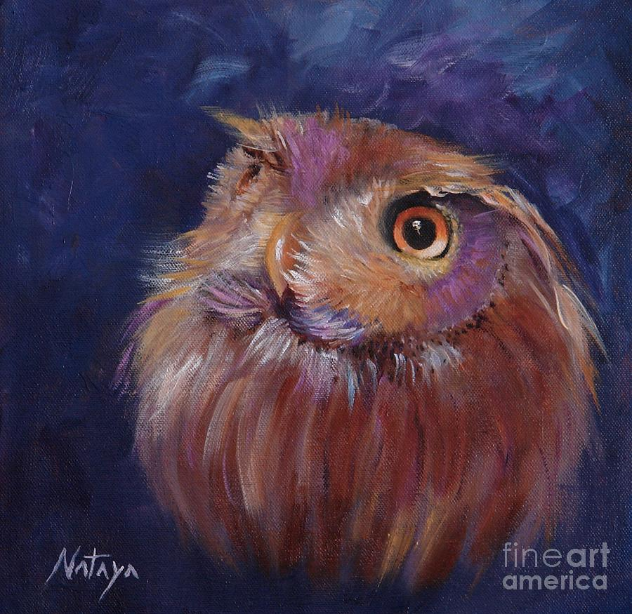 Owl Painting - Lil Hooty by Nataya Crow
