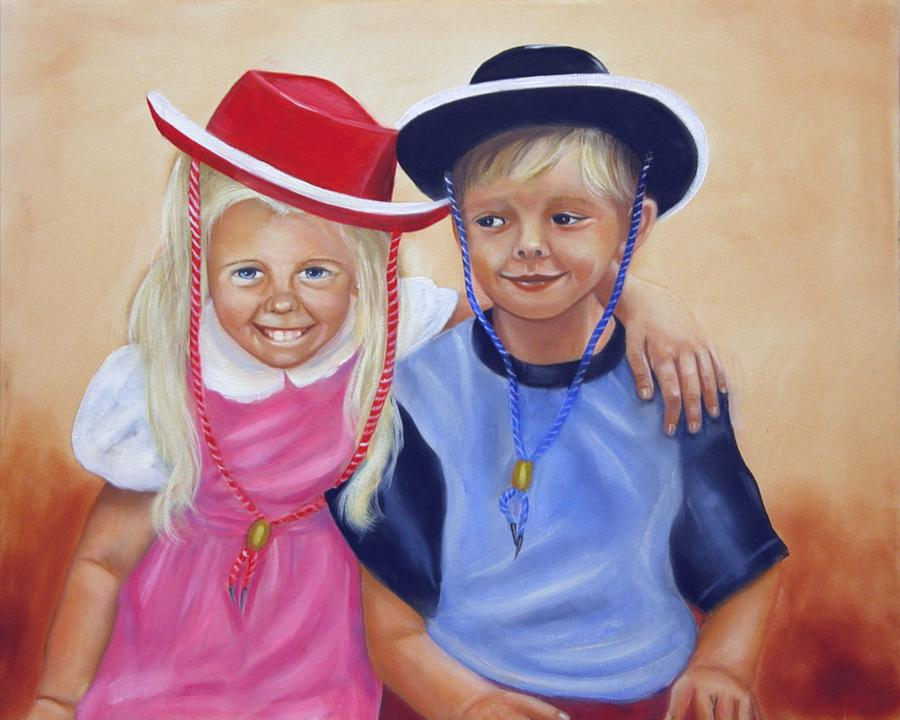 Child Painting - Lil Pardners by Joni McPherson