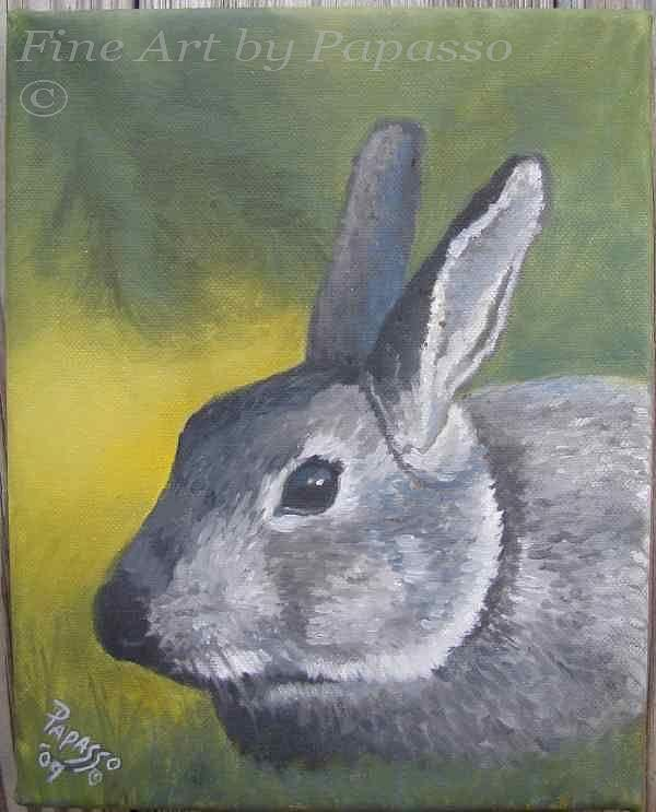 Rabbit Painting - Lil Rabbit by Kathie Papasso