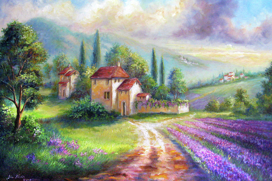 Lilac Fields In The Italian Countryside Painting