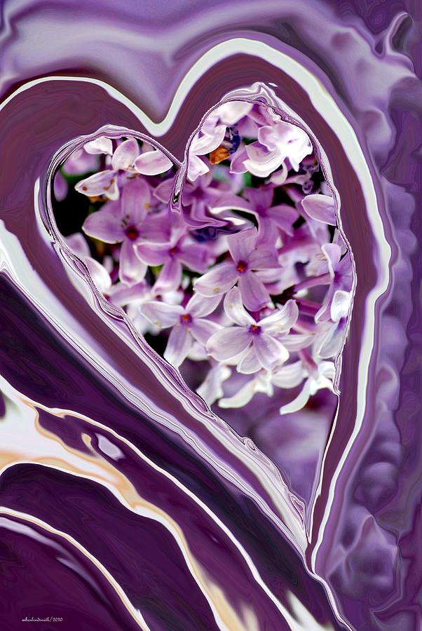 Digital Digital Art - Lilac Heart Abstract For Haiti by Michelle  BarlondSmith