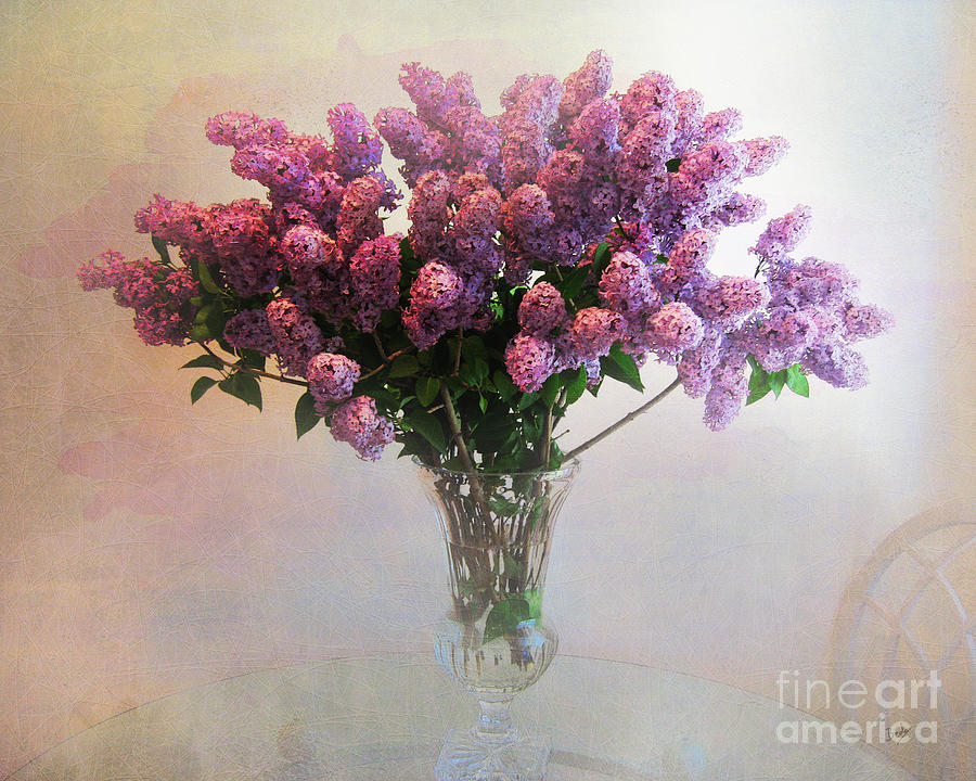 Lilac Vase On Table Photograph By Peter Awax