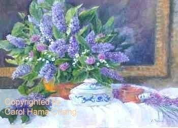 Lilacs And Copper Pot Painting by Carol Hama Chang