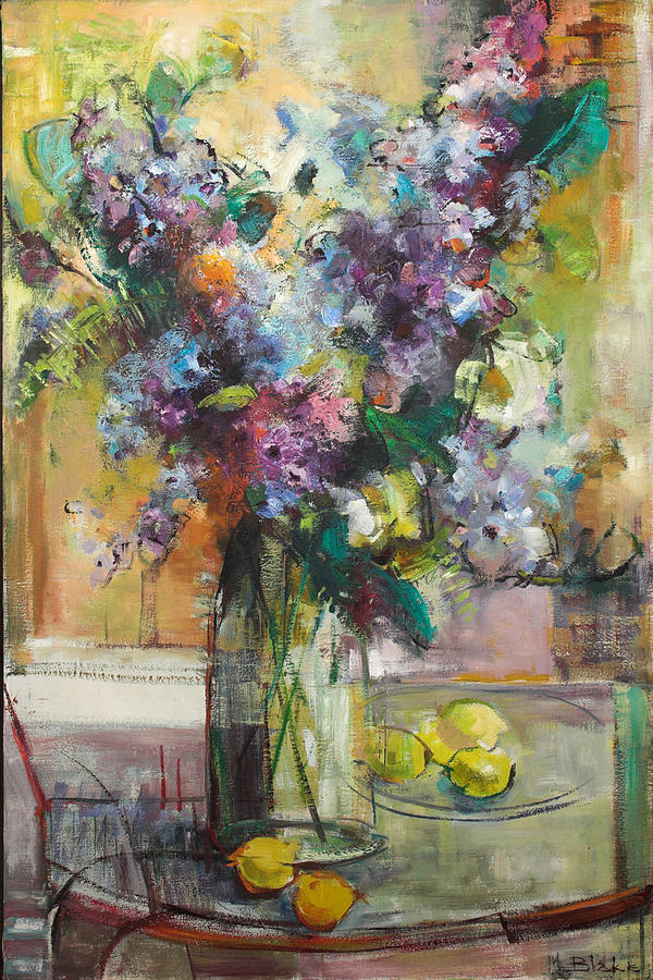 Lilacs Painting - Lilacs And Lemons by Blake Originals - Marjorie and Beverly