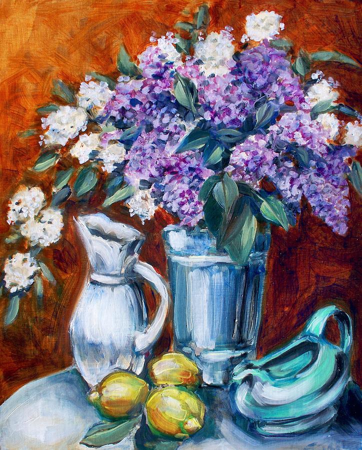Lilac Painting - Lilacs And Lemons by Sheila Tajima