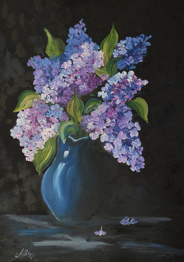 Lilacs In A Blue Vase Painting By M B