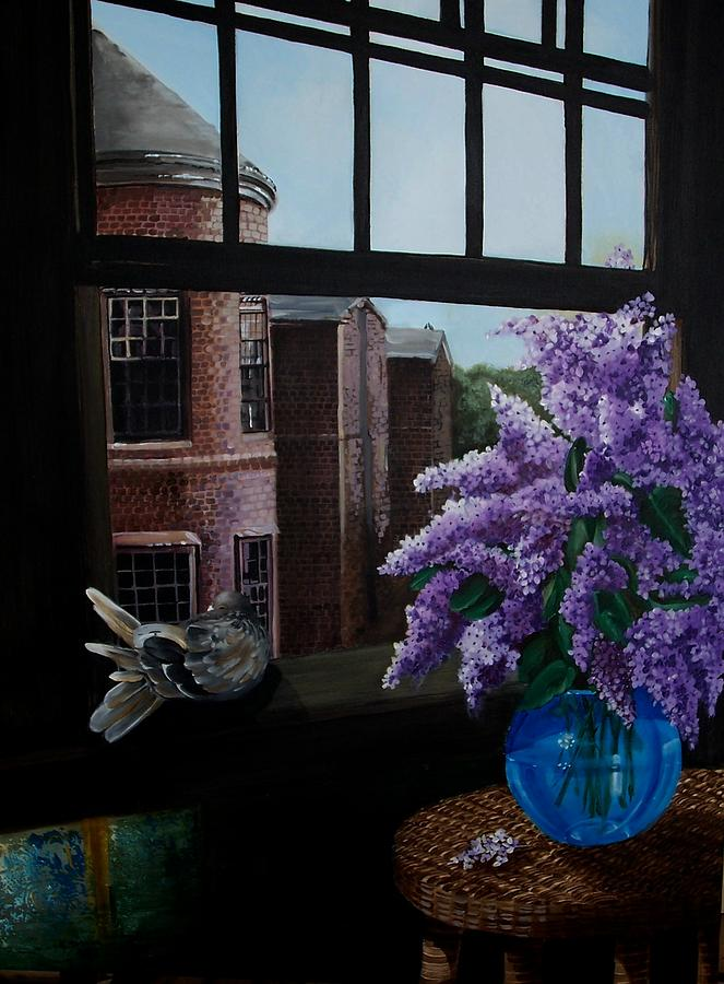 Still Life Painting - Lilacs In Blue Vase by Kathleen Romana