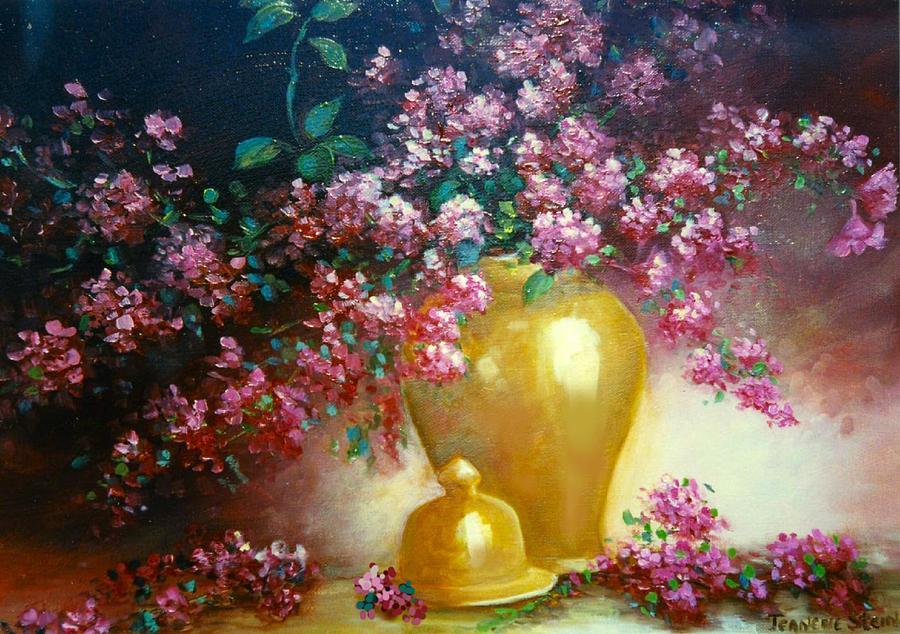 Lilacs Digital Art - Lilacs In Gold Vase by Jeanene Stein