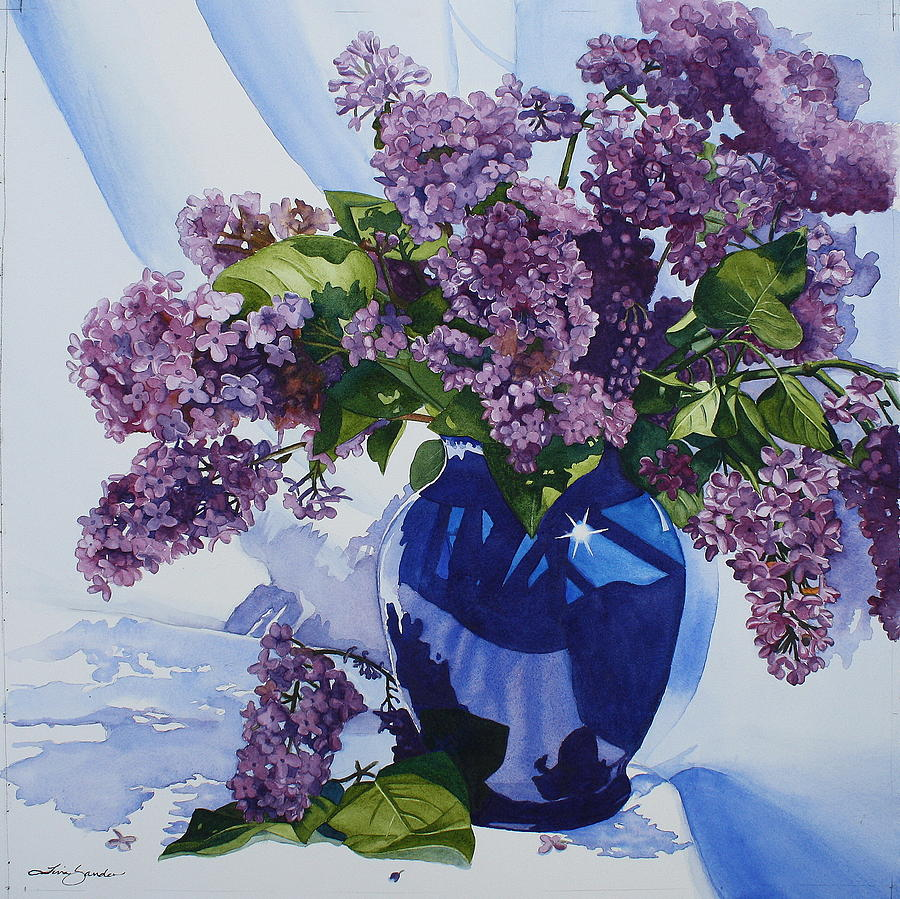 lilacs in vase painting by tina sander. Black Bedroom Furniture Sets. Home Design Ideas
