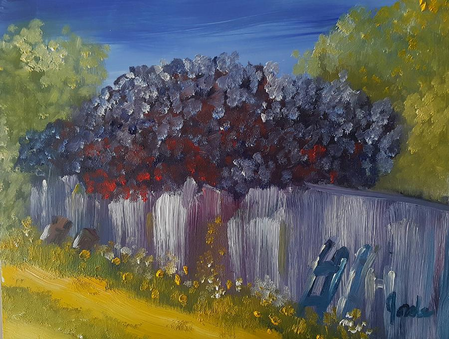 Landscape Painting - Lilacs On A Fence  by Steve Jorde