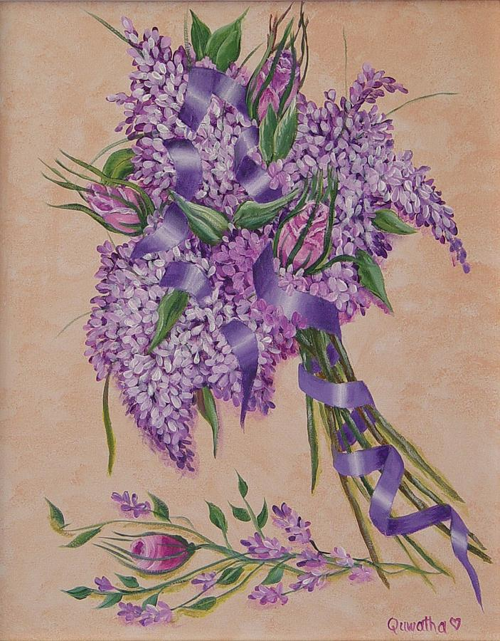 Lilacs Painting - Lilacs by Quwatha Valentine