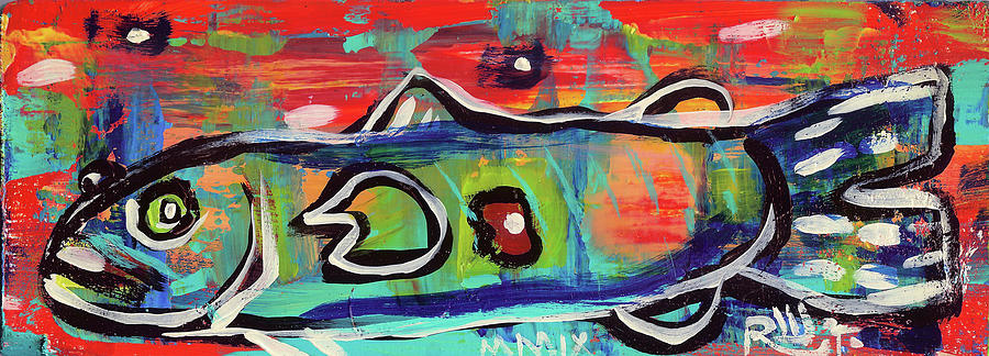 Contemporary Painting - Lilfunky Folk Fish Number Seventeen by Robert Wolverton Jr